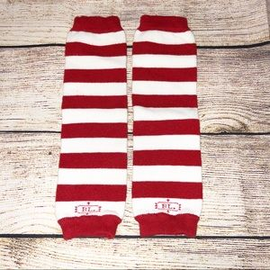 Red and White Strips Baby Leg Warmers